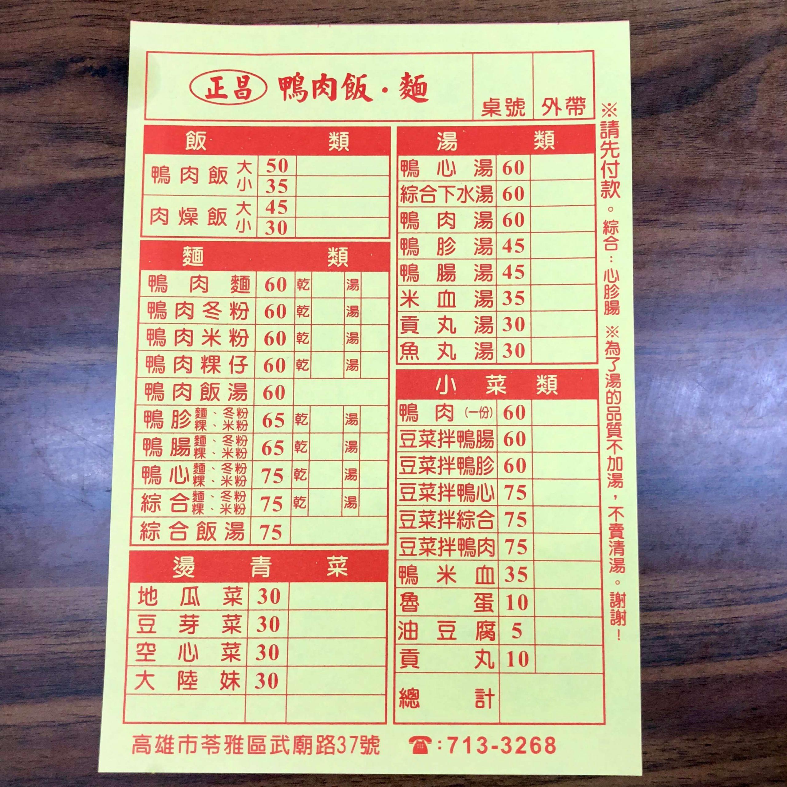 正昌鴨肉飯菜單