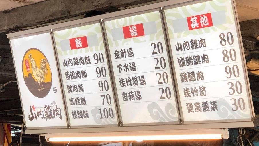 山內雞肉菜單