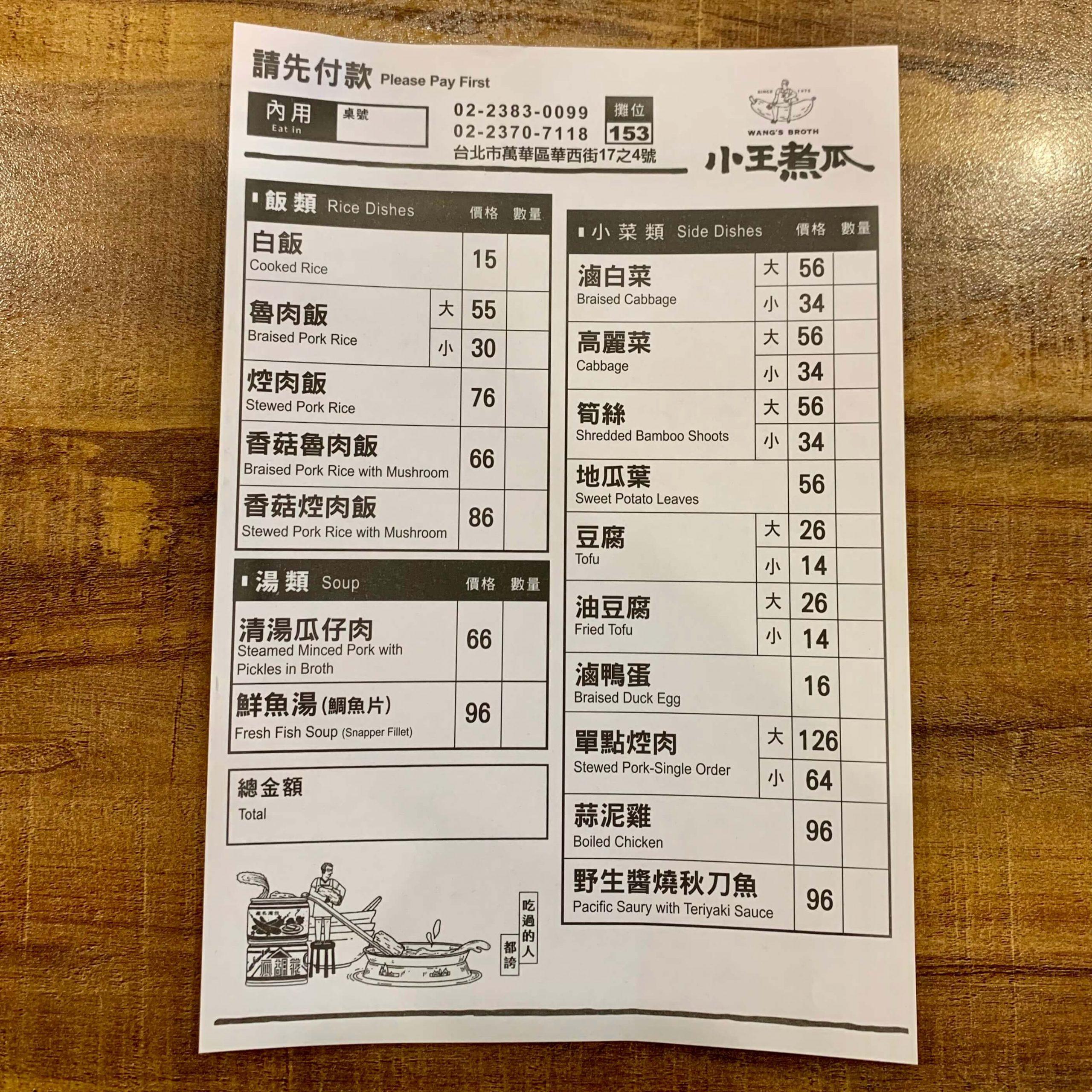 小王煮瓜菜單MENU